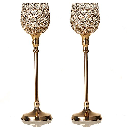 VINCIGANT Gold Pillar Crystal Tea Light Candle Holders Sets of 2 Wedding Table Centerpieces for Birthday/Anniversary Celebration Modern Decoration,14.6 Inches Tall