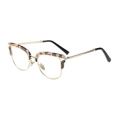 f9bf7f391f2 Deylaying Semi-Rimless Metal Frame Irregular Personality Eye Glasses Chic  Rivet Clear Lens Half Frame Eyewear Non-prescription Outdoor Optical Glasses  for ...