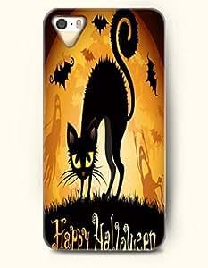 SevenArc iPhone 5 5s Case - Allhalloween Happy Halloween Black Cat And Bat