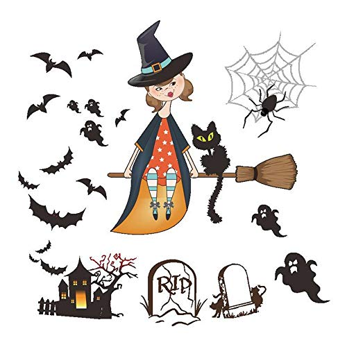 ARAYACY Halloween Wall Sticker Cute Witch Horror Female Ghost Castle Living Room Entrance Decoration Wall Sticker