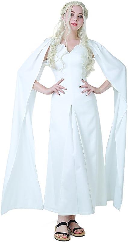 Game of Thrones 5 Daenerys Targaryen Costumes Cosplay Dress Beige Long Halloween Party Dress Ball Gowns for Women