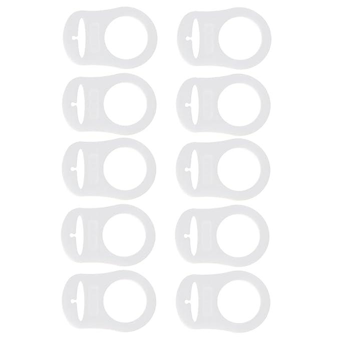 MagiDeal 10pcs Anillo De Silicona Chupete MAM Botón Simulado Adaptador Clip De Sujeción - Fluorescente