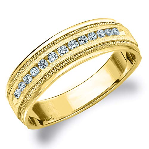 .25CT Heritage Men's Diamond Ring in 10K Yellow Gold Satin Finish - Finger Size 11.5 ()