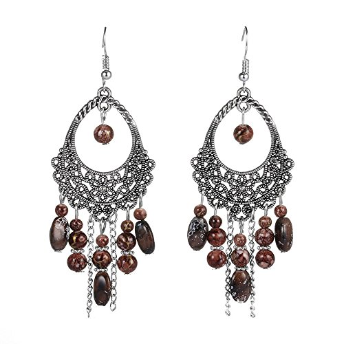 (Vintage Beaded Dangle Earrings For Women Red Bohemian Bead Drop Earrings Boho)