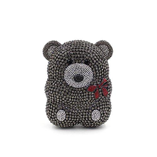 Luxury Rhinestones Little Bear Bolsa de noche señoras bolso favorito Boda monedero del embrague bastidor metálico Black