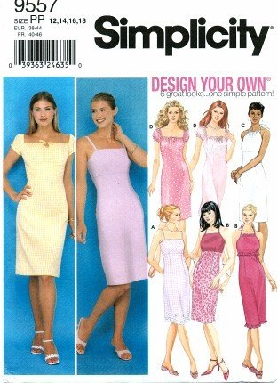 Simplicity 9557 Sewing Pattern Misses Design Your Own Summer Halter Dress Size 12 - 18 - Bust 34 - 40 Bust Halter