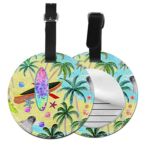 Lokjjtvfrxcgtg Beach Aloha Paradise Round PU Leather Luggage Tag with Full Privacy Cover Suitcase Labels Bag Carry-on