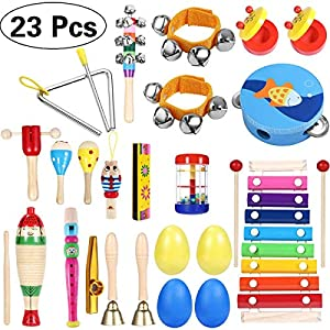 iBaseToy Kids Musical Instruments 23Pcs 16Types Wooden Percussion Instruments Tambourine Xylophone Toys for Kids Preschool Education, Early Learning Musical Toys Set for Boys Girls with Storage Bag