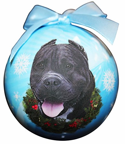 pit bull black christmas ornament shatter proof ball easy to personalize a perfect gift for pit bull lovers