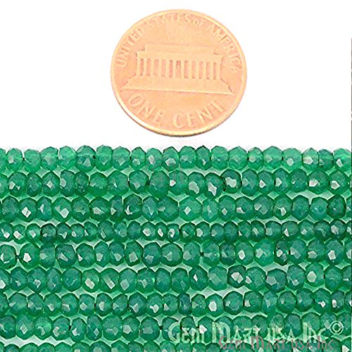 1 Strand Green Onyx Micro Faceted Rondelle 3-4mm 14