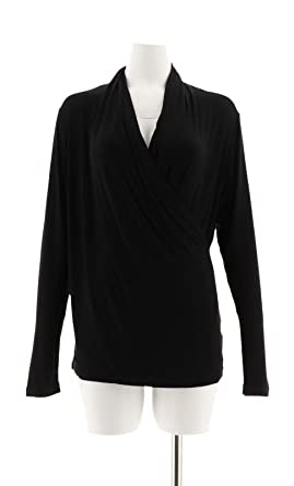 abf8dc7660f5a Iman Runway Chic Luxurious Long-Sleeve Crossover Top Knit Black XS New  569-288