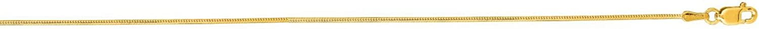IcedTime 14K Yellow Gold Round Snake Chain 18 inch long x0.9mm wide