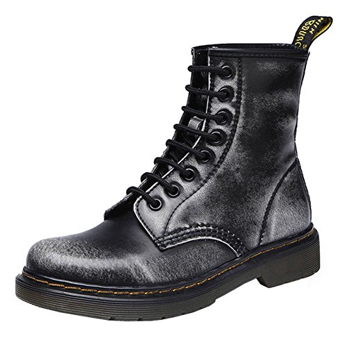 VOCOSI Women's CB-025 Retro Cap-toe Low Heels Ladies Leather Ankle Combat Boots