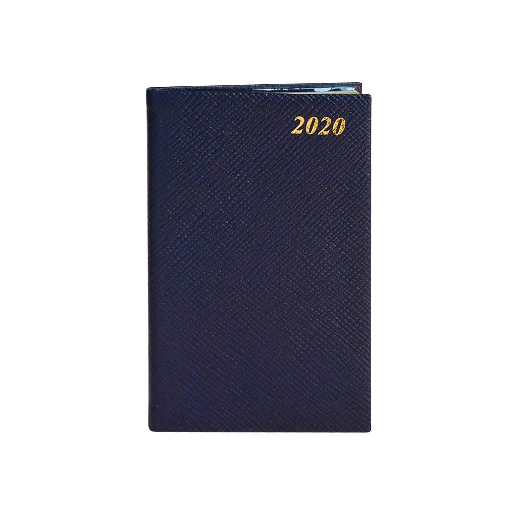 Charing Cross Diary D753LJ for Year 2020 Leather 5'' x 3'' with Pencil in Spine Crossgrain (Navy) by Charing Cross
