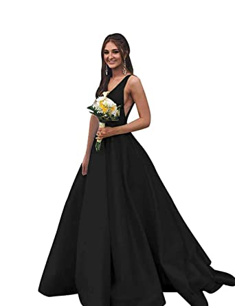 64c6bd9e0691 BBCbridal Women s V Neck Satin Evening Dress Open Back Prom Dresses Long  Formal Ball Gown with