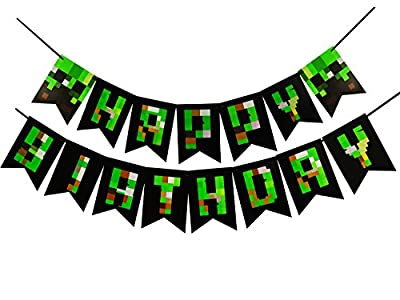 Pixel World Party Decoration Happy Birthday Banner For Gaming Boy Supplies Bunting by Threemart