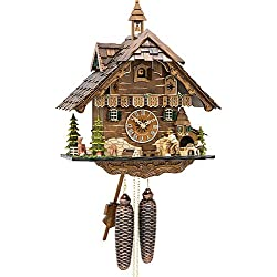 Engstler Cuckoo Clock Black Forest house with moving wood chopper