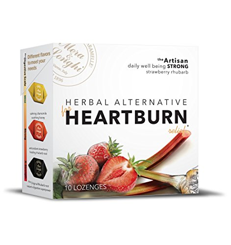 Natural HEARTBURN Relief - Herbal Candy Digestive Lozenges - ON SALE - Strawberry Rhubarb - STRONG - 8 boxes