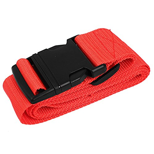 uxcell Side Release Buckle Luggage Suitcase Adjustable Belt Strap 2M Long Red