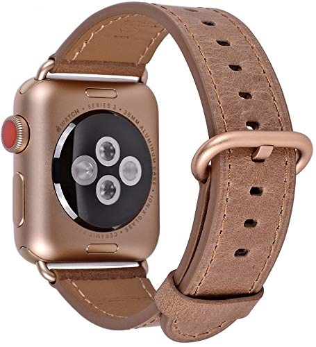 PEAK ZHANG Compatible Iwatch Band 42mm 44mm Women Men Genuine Leather Replacement Strap Compatible Series 4 (44mm) Series 3 2 1 (42mm),Caramel with Series 4/3 Gold Buckle ()