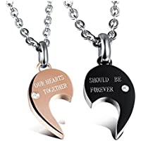 K&Q(TM) 2 PCS Love Rhinestone puzzle titanium steel pendant lovers pendant necklace a pair of heart couple fine jewelry