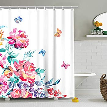 Branch of Lilac /& Butterfly Bathroom Set Shower Curtain Hooks Waterproof Fabric