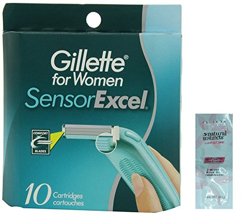 Price comparison product image Women's Sensor Excel Refill Blades, 10 Count w/ Free Loving Care Conditioner Packette ((1 Pack) 10 Cartridges)