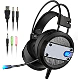 BENOKER Argus Gaming Headset for ps4 headset, Xbox one S, Over Ear Gaming Headphones with Mic, surround sound bass, Noise cancelling, LED Light for PC,Mac,Laptop, Nintendo Switch (black)
