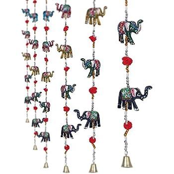 CraftVatika Set Of 2 Decorative Elephant Door Hangings | Handmade Decorative Wall Hanging with Bead u0026  sc 1 st  Amazon.com & Amazon.com: Handmade Decorative Door Hanging Bell Bird Shandler for ...