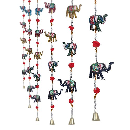 CraftVatika Set Of 2 Decorative Elephant Door Hangings | Handmade Decorative Wall Hanging with Bead & Brass Bell | Indian Handicrafts
