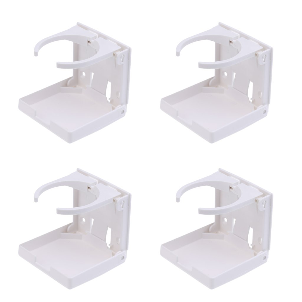 Dovewill 2 Pieces Adjustable Folding White Nylon Beverage Drink Can Cup Holders Boat//Marine//Caravan//Car//RV