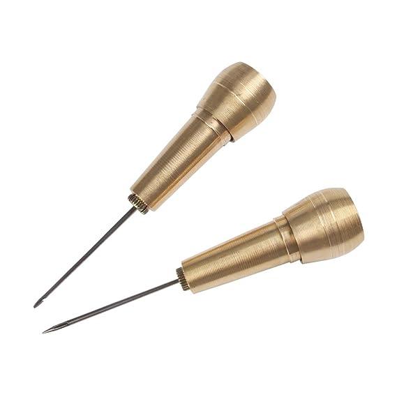 El cobre de la manija 4 agujas de coser a mano Punzón Stitcher Kit con 9m Hilo de nylon de cuerda de herramientas de reparación de zapatos de cuero de DIY ...