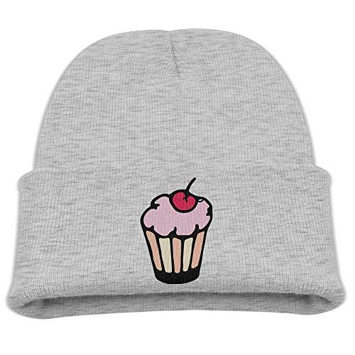Icon Skull Hat - Cake with Cherry Cartoon Icon Kids, Warm Cold Weather Hats Skull Cap Boys Girls Children