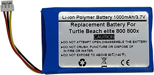 3.7V 1000mAH Replacement Battery for Turtle Beach Elite 800 800x Wireless Headsets