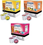 66 Count - Snapple Variety Iced Tea K-Cups For Keurig K Cup Brewers and 2.0 Brewers - Lemon, Peach, & Raspberry