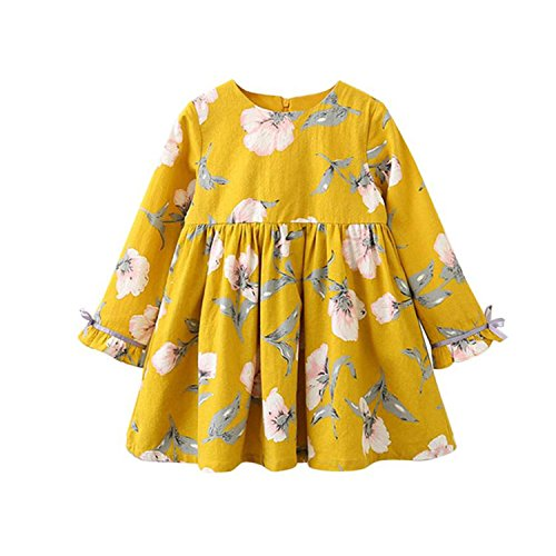Unique-Shop Round Neck Print Princess Dress Light Blue Yellow Dress,Yellow,130cm ()