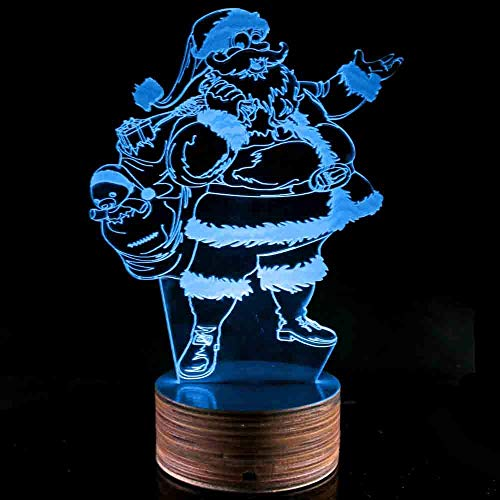 Novelty Lamp, Night Light 3D LED Lamp Optical Illusion Santa Claus, 16 Color Remote Control Changes, with USB Charging Connector, Children's Gift Toys,Ambient Light by LIX-XYD (Image #2)