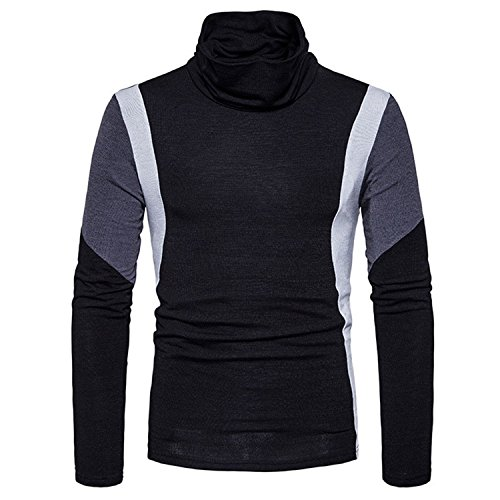 Rising On Men's Knitted Sweaters Casual Slim Fit Turtleneck Sweater Cotton Crochet Male Pullover 2XL BlackX-Large