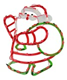 Northlight  Lighted Santa with Green Sack of Gifts Christmas Window Silhouette Decoration, 17.75""