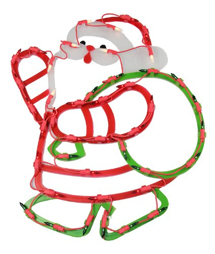Outdoor Lighted Plastic Santa Claus - 9