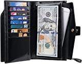 Travelambo Womens RFID Blocking Large Capacity Luxury Waxed Genuine Leather Clutch Wallet Multi Card Organizer (black)