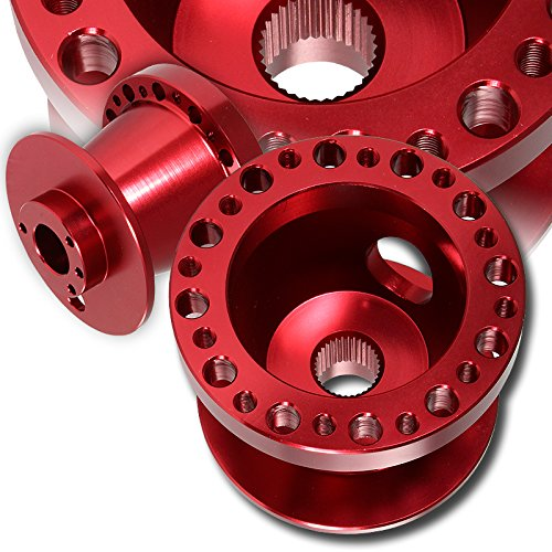 T6061 Red Aluminum Steering Wheel 6-Hole HUB Adapter For Honda Accord Civic S2000 Prelude Acura TL ()