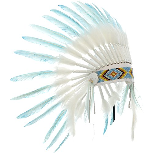 Pale Man Costumes (KIDS SIZE Feather Headdress - Adjustable - Native American Inspired - Pale Blue)