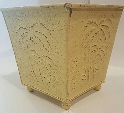 Sand Colored Palm Tree Metal Footed Pot Planter 6 In Tall x 6 Wide Top 4.25 wide bottom