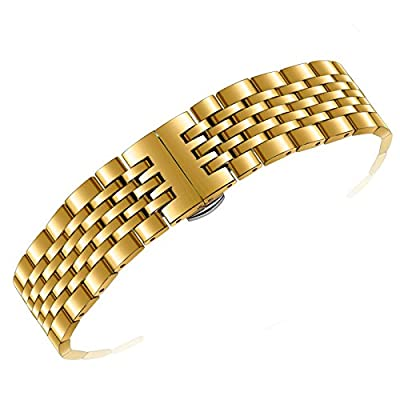 Quality Gold Metal SS Watch Bands 20mm Solid 316L Stainless Steel Adjustable Size Bent or Straight Ends