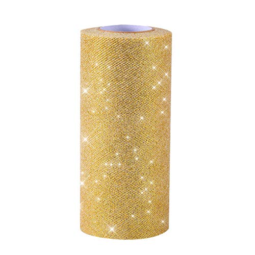 Senkary Gold Glitter Tulle Ribbon Roll Sparkling Tulle Spool 6 Inch by 25 Yards for Crafting Fabric, Gift Ribbon