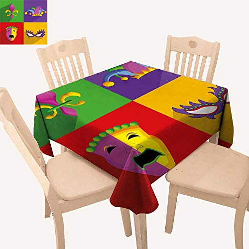 haommhome Mardi Gras Table Cover Colorful Frames with Mardi Gras Icons Masks Harlequin Hat and Fleur De Lis Print Summer Table Cloths W 60