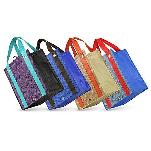 Grommet Bag - Aztec - Graphic Print Grommet Reinforced Reusable Grocery Tote Bags - Set of 4