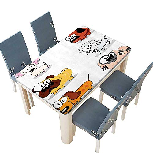 Indoor/Outdoor Spillproof Tablecloth Decor Collection Dogs Clipart Collection