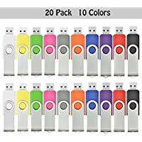 AreTop 20Pcs 1GB USB 2.0 Flash Drive Memory Stick Fold Storage Thumb Stick Pen Swivel Design (10 Mix Colors)